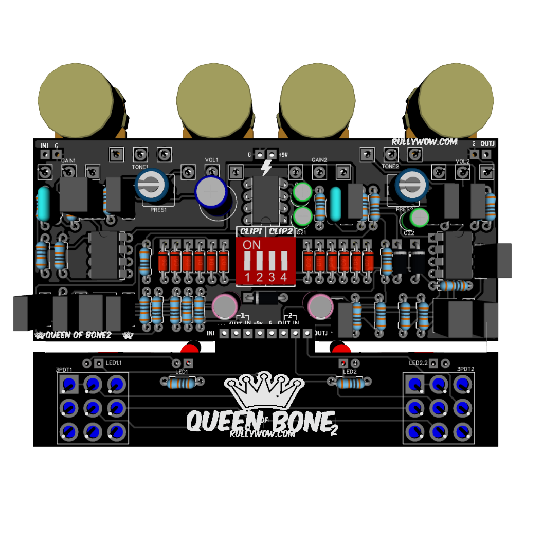 3pdt Wiring Board Ask Answer Diagram Queen Of Bone 2 King Tone U2122 18v Clone Pcb Motor Footswitch Diy
