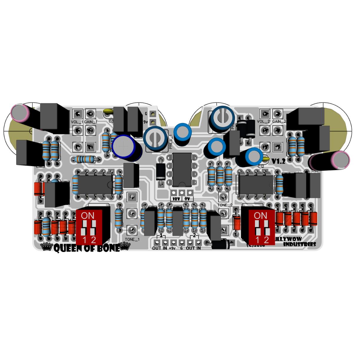 Queen Of Bone King Tone 18v Clone Pcb Rullywow Diy Guitar Distortion Pedal Wiring Diagram