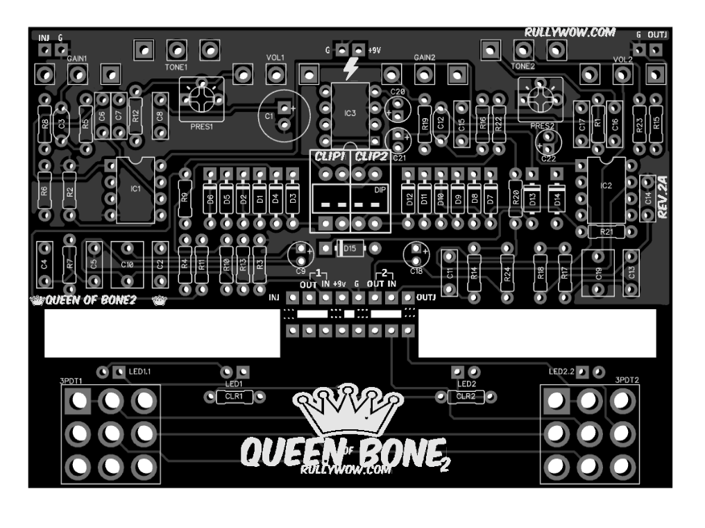 queen of bone 2 king of tone 18v clone pcb rullywow diy guitar pedal pcb store. Black Bedroom Furniture Sets. Home Design Ideas
